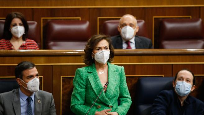 La vicepresidenta Carmen Calvo interviene en la sesión de control al Gobierno del 3 de febrero de 2020.