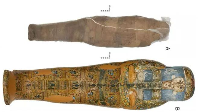 Individuo momificado y ataúd en la Colección Nicholson del Museo Chau Chak Wing, Universidad de Sydney. -