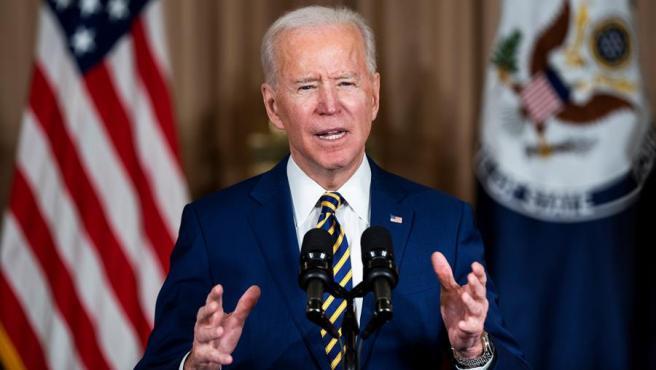 El presidente de EE UU, Joe Biden, durante un discurso en el Departamento de Estado, en Washington.