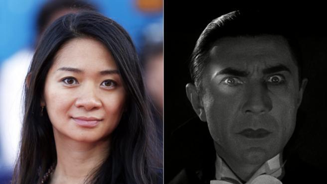 Chloé Zhao junto al Drácula de Bela Lugosi