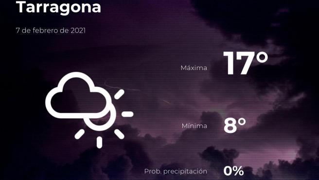 El tiempo en Tarragona: previsión para hoy domingo 7 de febrero de 2021