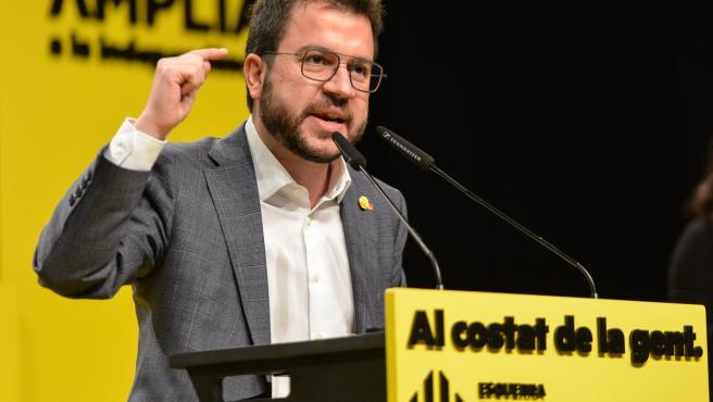 El vicepresidente de la Generalitat en funciones y candidato de ERC a la Presidencia, Pere Aragonès, en el acto central de campaña en Girona.