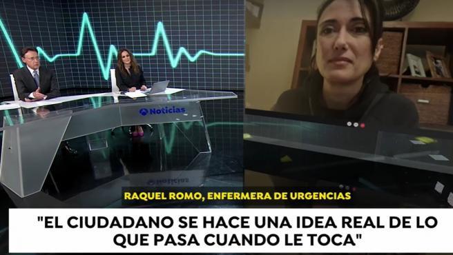 Raquel Romo, enfermera del Hospital de Málaga, durante su entrevista en Antena 3 Noticias.