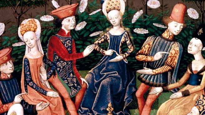 Detalle de la portada de 'Hasta aquí hemos legado', con la ilustración original de la edición francesa de 'El Decamerón' (1435).