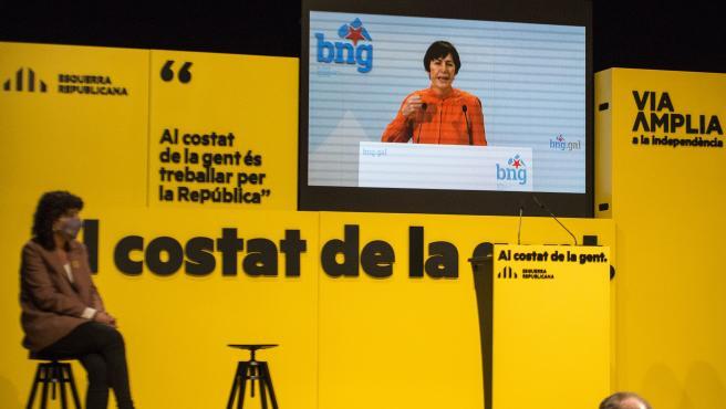 La portavoz nacional del BNG, Ana Pontón, en el acto central de campaña de ERC en Girona.