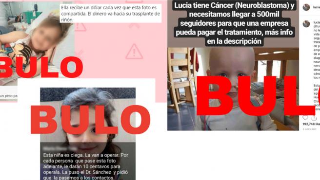 Bulos que utilizan imágenes de supuestas niñas enfermas para desinformar
