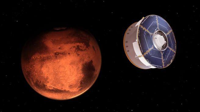 Representación de la llegada del Perseverance a Marte.