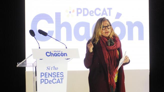 La número dos del PDeCAT a las elecciones, Joana Ortega interviene durante el inicio de campaña del PDeCAT, en el Recinto Modernista Sant Pau, en Barcelona, Catalunya (España), a 28 de enero de 2021. El PDeCAT, tras s