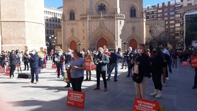 Protesta de los hosteleros en la plaza Mayor