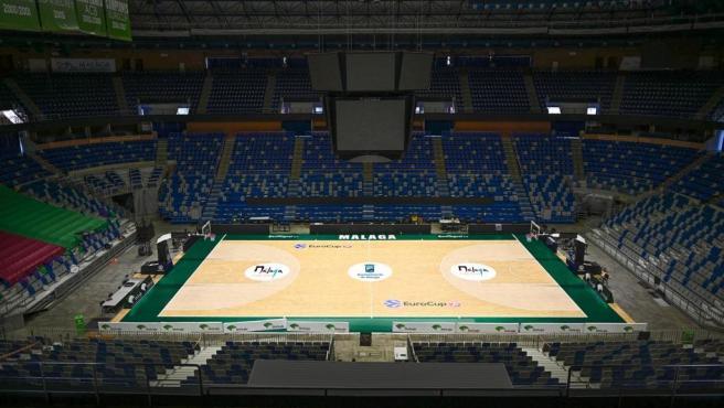 Recreación de cómo quedará el nuevo parqué de la pista de baloncesto del José María Martín Carpena
