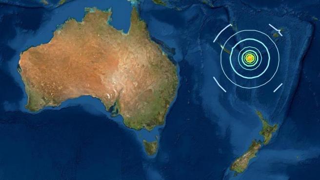 Localización del epicentro del terremoto de 7,7 grados registrado en el Pacífico Sur el 10 de febrero de 2021.