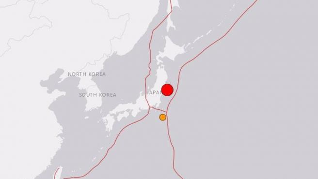 Seísmo cerca de Fukushima.