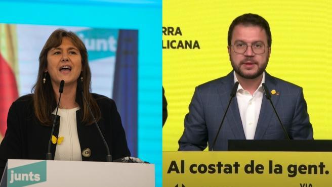 La candidata de JxCat, Laura Borràs, y el candidato de ERC, Pere Aragonès.