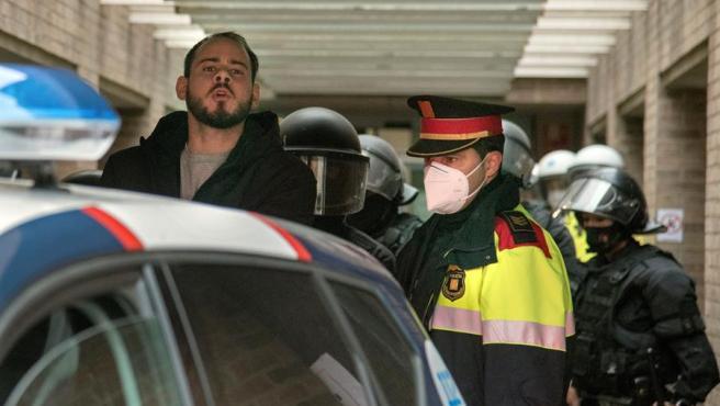 Detención de Pablo Hasel en la Universidad de Lleida.