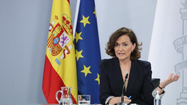 La vicepresidenta primera, Carmen Calvo, al término del Consejo de Ministros de este martes.