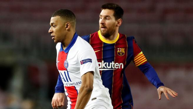 Mbappé y Messi, en el Barcelona-PSG