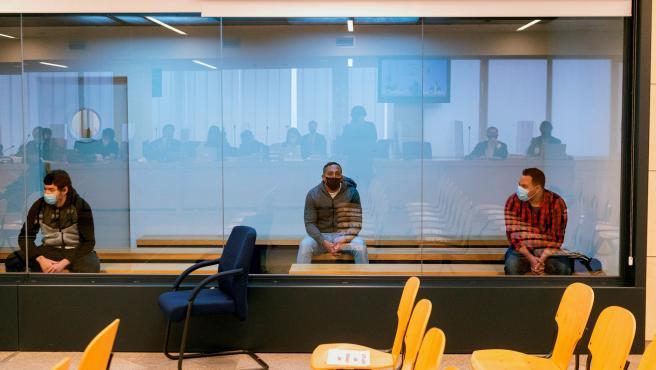 Los tres acusados en el juicio sobre los atentados de Barcelona y Cambrils.