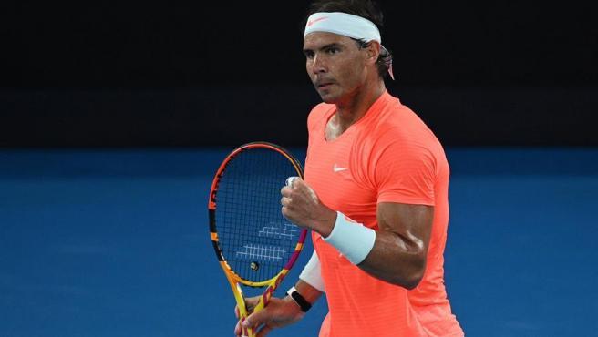 Rafa Nadal celebra su victoria en cuartos del Open de Australia.