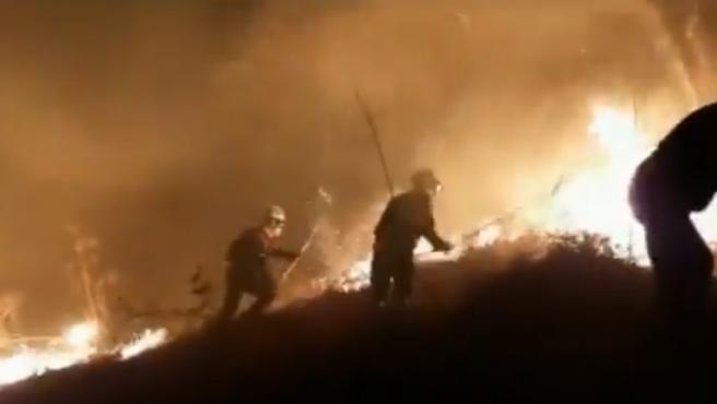 Imágenes del incendio en Navarra.