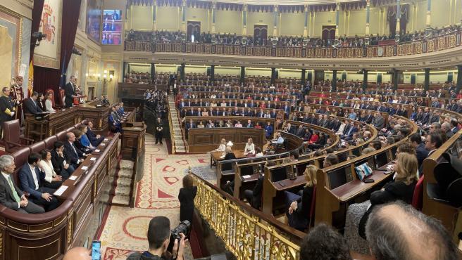 Vista general del hemiciclo del Congreso de los Diputados durante un discurso del rey Felipe VI.