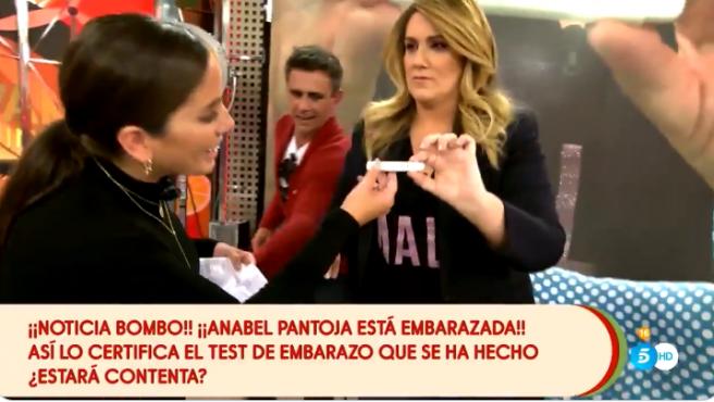 El momento en el que Anabel Pantoja comprueba el test de embarazo que le han hecho en Sálvame.