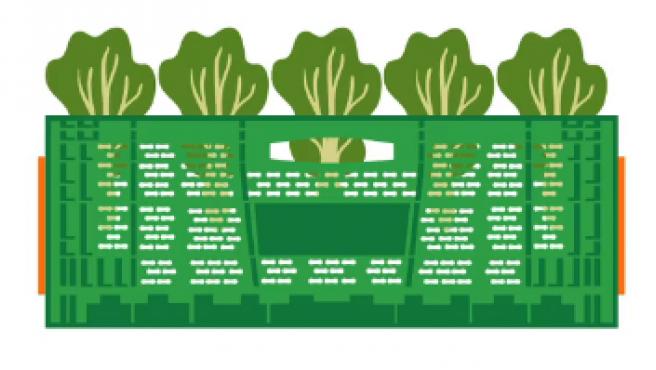 Cajas verdes de Mercadona.