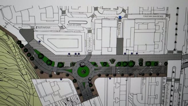 Plano del proyecto del corredor de la calle Viena en Cáceres