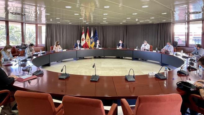 Reunión de coordinación celebrada en el Cabildo de La Gomera para abordar el plan de vacunación