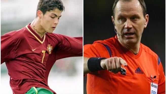 Un joven Cristiano Ronaldo y el ex árbitro Jonas Eriksson.