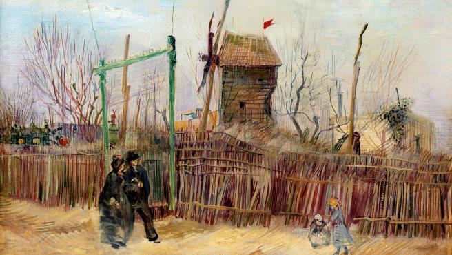 Detalle del cuadro 'Escena de calle en Montmartre', pintado por Vincent Van Gogh en 1887.