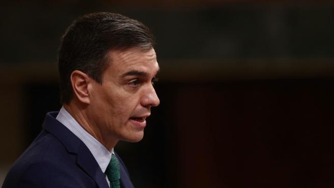 El presidente del Gobierno, Pedro Sánchez, interviene durante la sesión de control en el Congreso.
