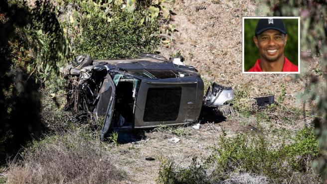 El coche de Tiger Woods, destrozado tras el accidente de tráfico sufrido por el golfista (en el recuadro) en Rancho Palos Verdes, California, EE UU.