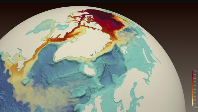 Un trazador de tinte rojo simulado liberado desde el Giro de Beaufort en el Océano Ártico (parte superior central) muestra el transporte de agua dulce a través del archipiélago ártico canadiense.