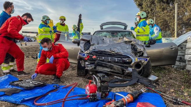 Imagen del accidente en el Circuito del Jarama.