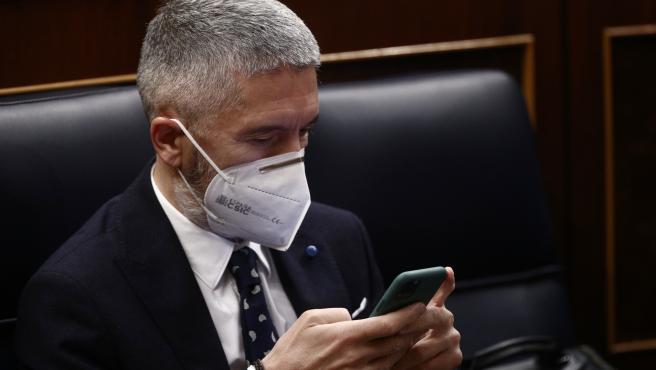El ministro de Interior, Fernando Grande-Marlaska, observa el móvil durante una sesión plenaria en el Congreso