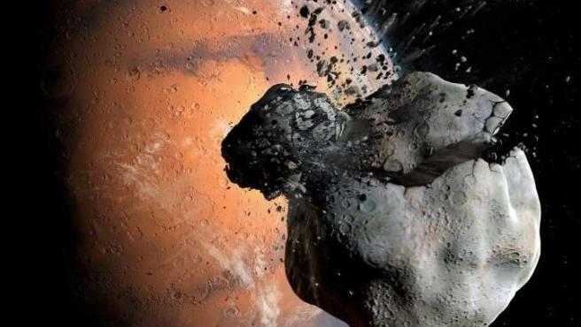 Impresión artística de la colisión entre una luna primordial marciana y un asteroide, que podría haber llevado a la formación de Fobos y Deimos.