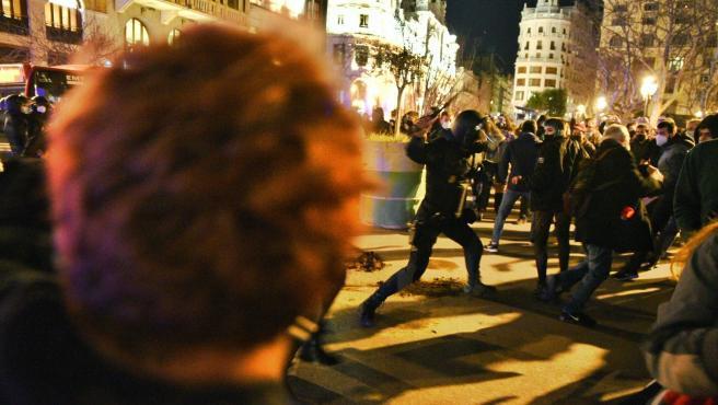 Protestas en apoyo a Pablo Hasél en València