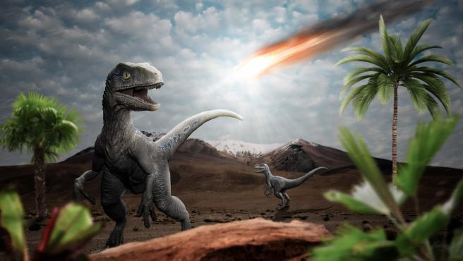 Recreación por ordenador de la extinción de los dinosaurios por un asteroide.