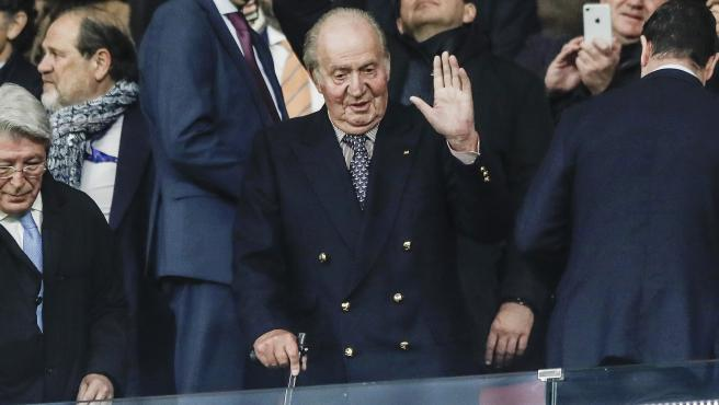 El rey emérito Juan Carlos I, en el estadio Wanda Metropolitano en febrero de 2020.