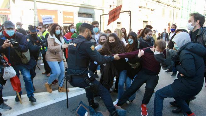 Disturbios en la marcha por la Sanidad de este sábado.