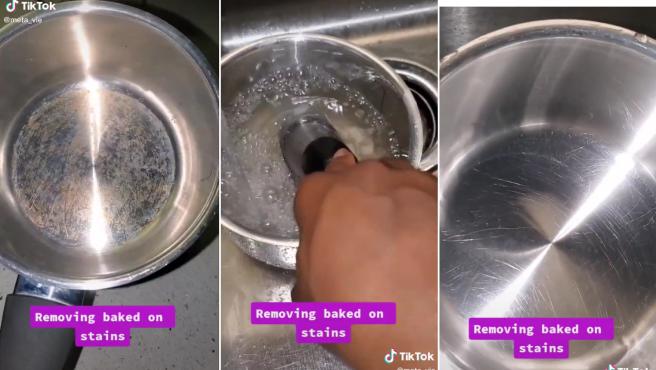 Secuencias del vídeo con el truco para limpiar cacerolas.