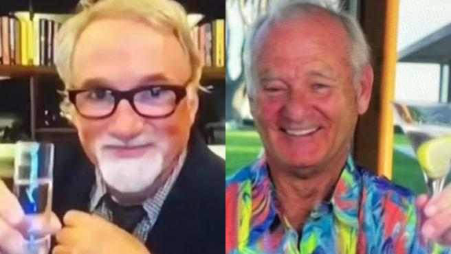 David Fincher y Bill Murray en los Globos de Oro 2021.