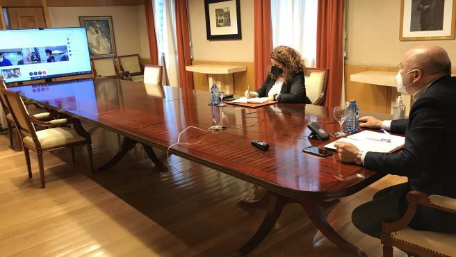 El delegado del Gobierno en Galicia, Javier Losada, se reúne telemáticamente con el comité de empresa de Ence.