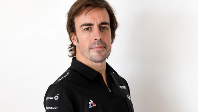 Fernando Alonso, durante su presentación con Alpine