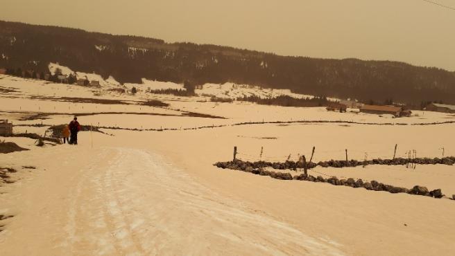 Imágenes tomadas el pasado 6 de febrero de 2021 en el Macizo del Jura, al norte de los Alpes.