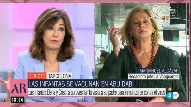 Ana Rosa Quintana, presentadora de Telecinco, y Mariángel Alcázar, de La Vanguardia.