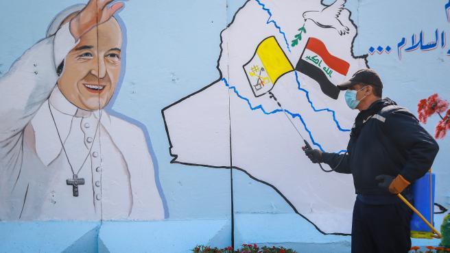 Mural del Papa Francisco en Irak.