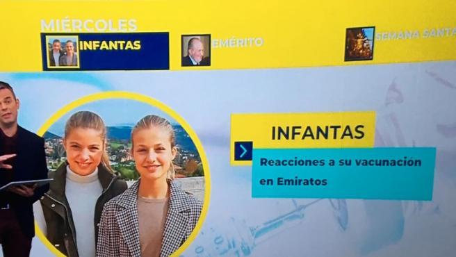 Rótulo en La 1 con la imagen de las infantas Leonor y Sofía, en lugar de Elena y Cristina, sobre las que se hablaba.