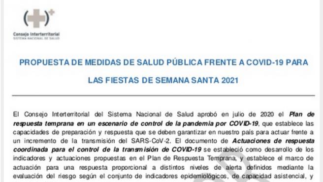 Pantallazo del borrador de Sanidad con medidas anticovid para Semana Santa.