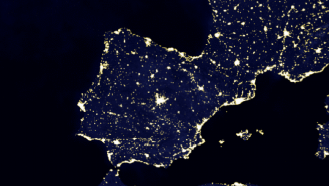 Mapa de España de noche.